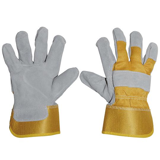 Guantes unitalla carnaza y loneta, gris y amarillo Surtek 137389