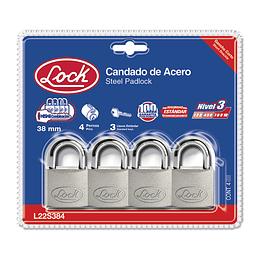 Candado acero corto llave estándar 4 pzs cromo satinado Lock L22S384