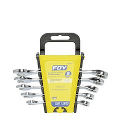 Jgo 5 llaves combinadas pulido espejo 12 puntas métricas Foy 140451
