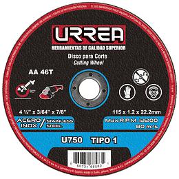 """Disco t/1 inox4-1/2x3/64""""m/pes Urrea U750"""