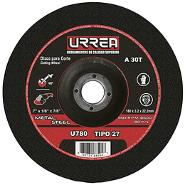 """Disco t/27 metal 7x1/8"""" e/pes Urrea U780"""