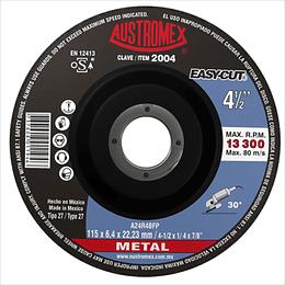 """Disco Tipo 27 Para Desbaste de Metal 4 1/2"""" x 1/4"""" x 7/8"""" 25 Piezas 2004"""