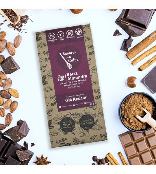 Barra de chocolate almendras 80gr