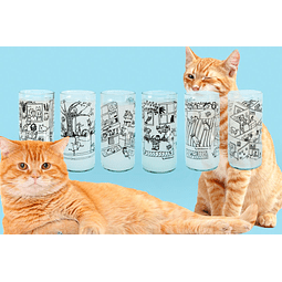 Six pack vasos Lady cat