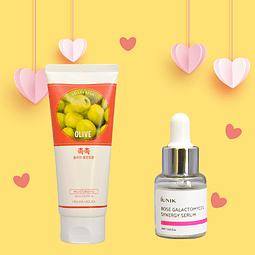 Limpiador facial en espuma olive + Sérum facial rose galactomyces