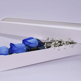 Caja 3 rosas azules