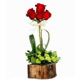 6 Rosas en Base Rústica