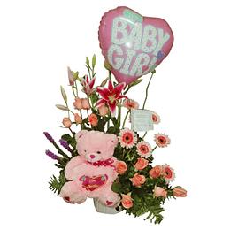 Arreglo Floral Mixto más Globo Bebé y Peluche