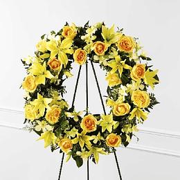 Corona de Rosas Liliums Amarillos
