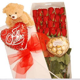 24 Rosas en Caja mas Globo y Peluche