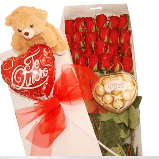 24 Rosas en Caja más Globo y Peluche