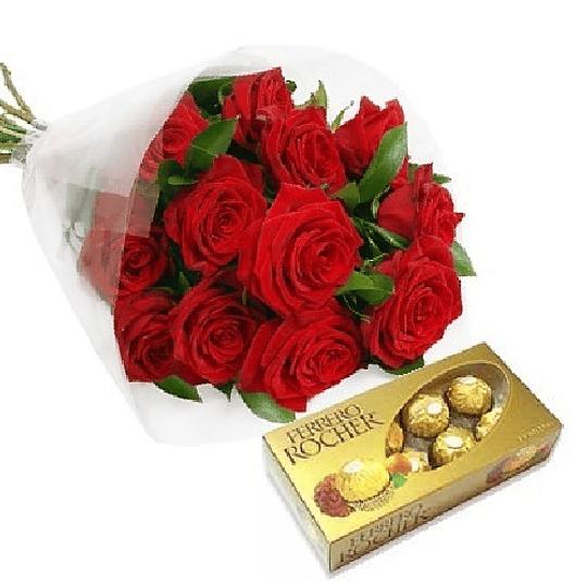 Ramo 12 Rosas y Chocolates