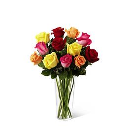 Florero 12 Rosas Multicolor