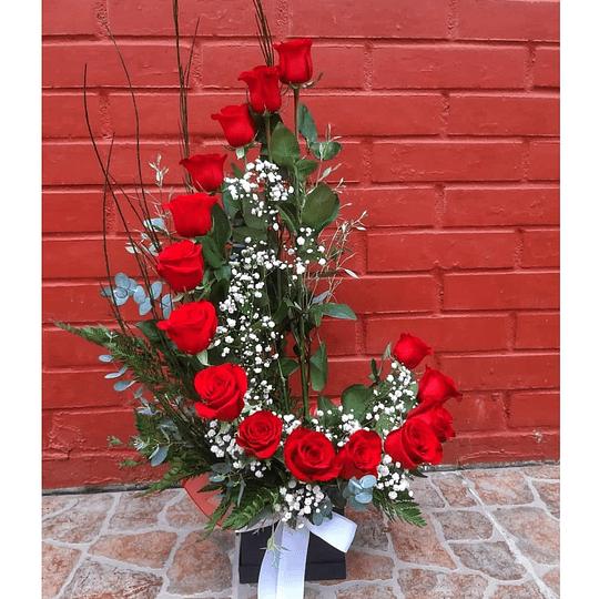 Caracola de 15 Rosas Rojas