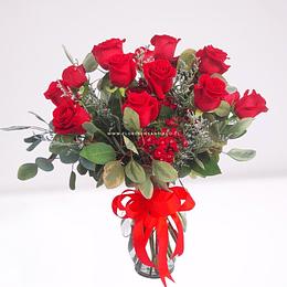 Florero con 18 Rosas
