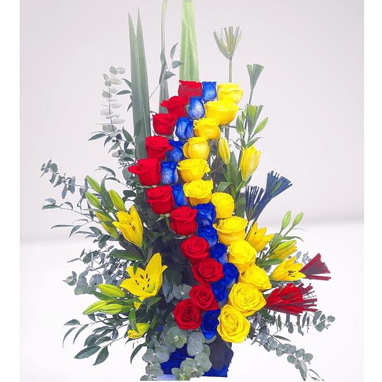 Espiral de 35 rosas y Liliums