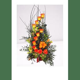 Espiral de 12 Rosas - Liliums y Orquídeas