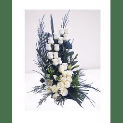 Arreglo doble de Rosas y Liliums