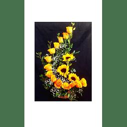 Caracola con 14 rosas y Girasoles