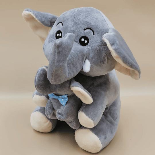 Tierna mamá Elefante y su bebe color Gris.