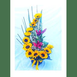 Caracola de Girasoles y Liliums