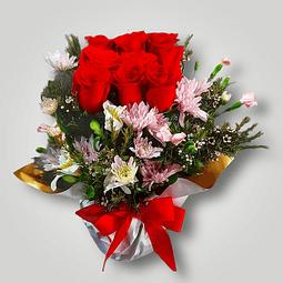 Maceta Cubo con Rosas Rojas