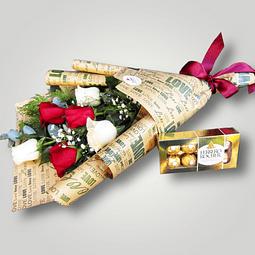 Promoción de 6 rosas y bombones