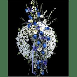 Corona en Atril (Blanco y Azul)