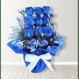 Maceta con Rosas Azules