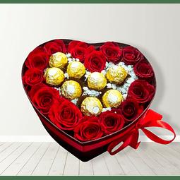 Box de Rosas y Bombones Ferrero Rocher
