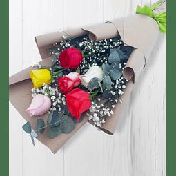 Ramo de 6 Rosas Multicolor