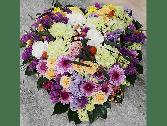 Coração de Flores Variadas Mix de Cores