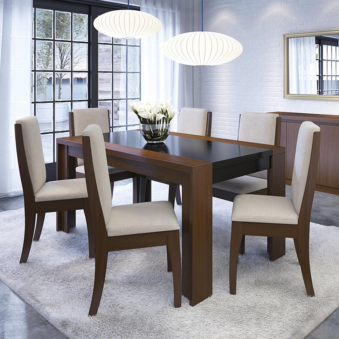 Comedor Lorenzi 6 sillas Castaño - Image 1