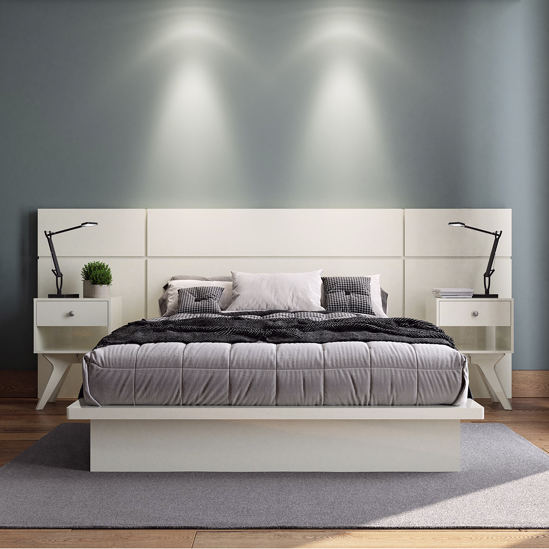 Set Respaldo + Cama Tokio  + 2 veladores New York Off White - Image 1