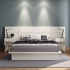 Set Respaldo + Cama Tokio  + 2 veladores New York Off White