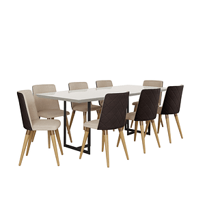 Comedor 2.1 Iron 8 sillas Dakota