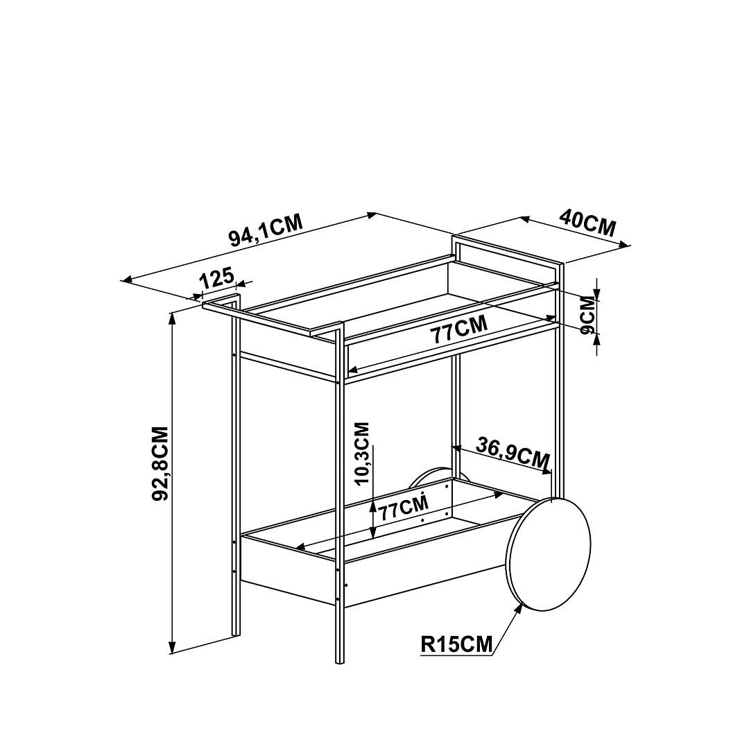 Bar Cart Steel Quadra 27853 - Image 3
