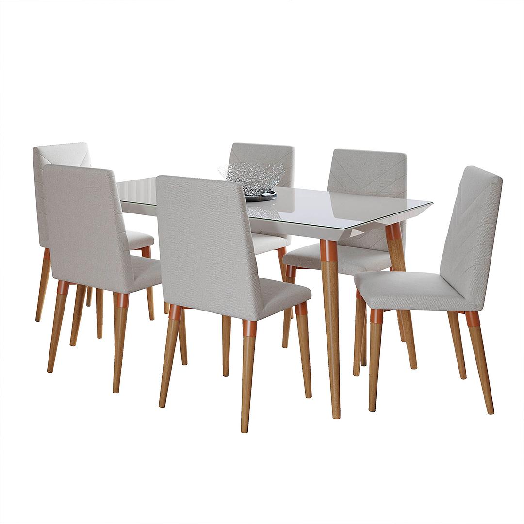 Comedor 1.6 LIV Blanco Brillo 6 sillas LIV Omega 02 - Image 2