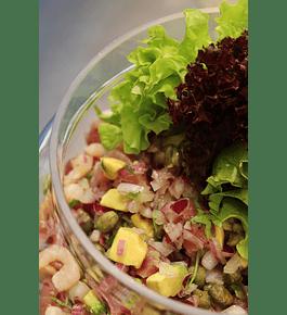 Piqueo de atún y camarón (versión ceviche o tártaro) para 4 personas