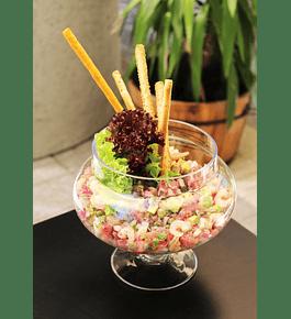 Piqueo de atún y camarón (versión ceviche o tártaro) para 2 personas