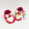 Moccs rosa corazón dorado Diseño-Exclusivo