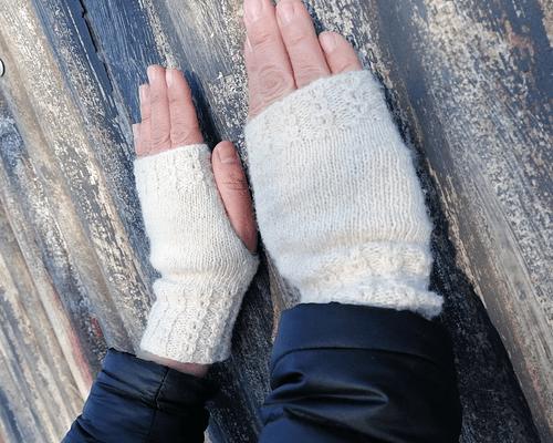 "Guantes de lana ""Estepa"" tejidos a mano - Certificado Wildlife Friendly®"