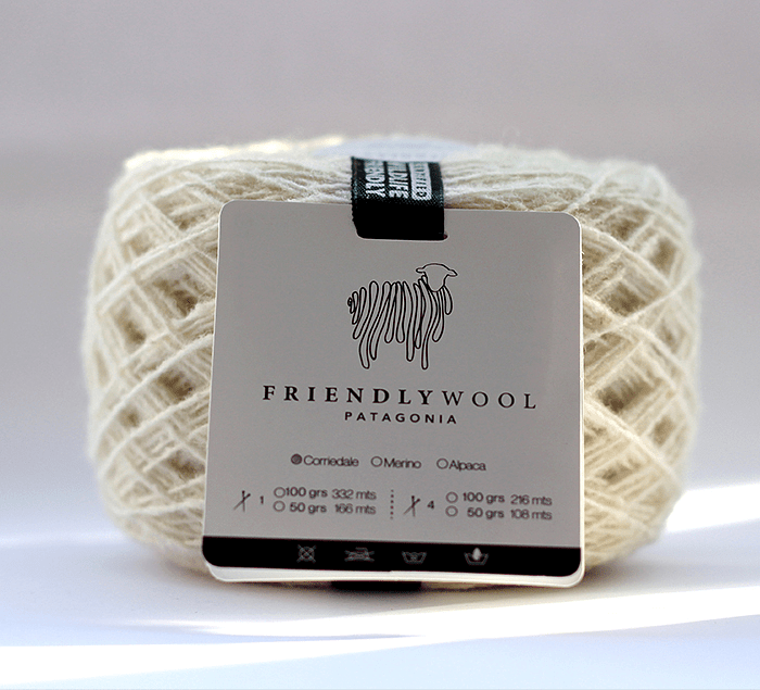 One ply wool ball 100% Corriedale sheep Wildlife Friendly certified. White color