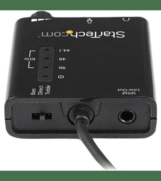 Tarjeta de Sonido Estereo USB Externa Adaptador Conversor con Salida SPDIF 2x Mini-Jack Hembra - Negro