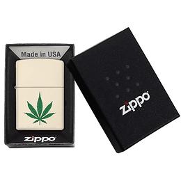 Encendedor Cream Matte Weed Zippo