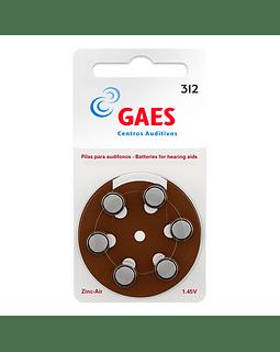 Pilas Auxiliar Auditivo Gaes Premium Latam 312 Pack 6