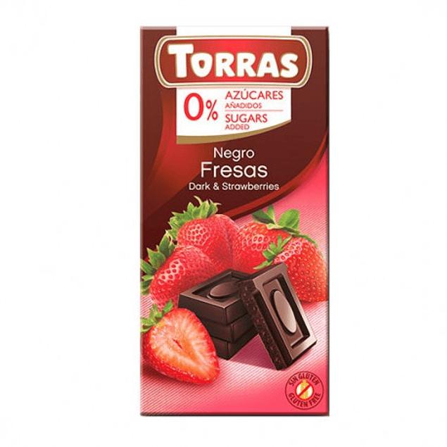 Chocolate Negro con Frutillas sin azúcar ni gluten 75 grs