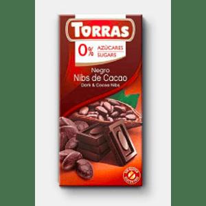 Chocolate Negro con nibs de cacao sin gluten 75 grs