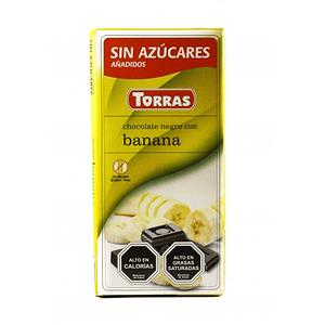 Chocolate Negro con platano sin azúcar ni gluten 75 grs