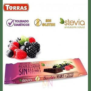 Chocolate negro y frutos del bosque con Stevia (35g)